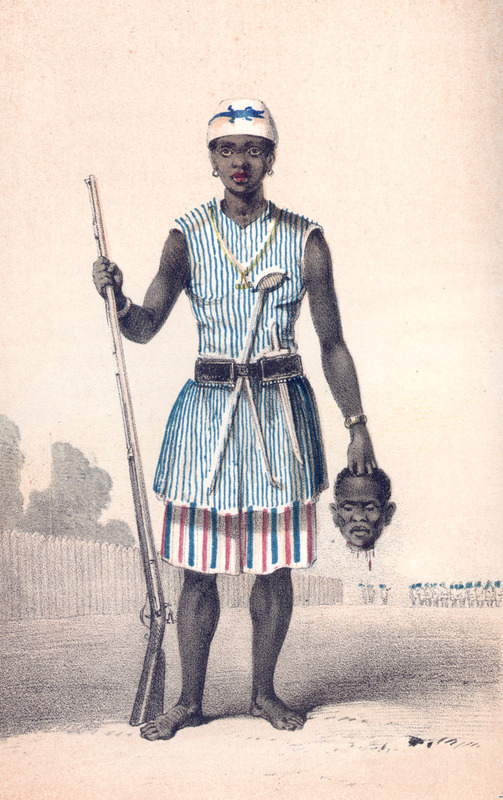 "Seh-Dong-Hong-Beh, meaning ""God Speaks True"" in Fon, was a leader of the Dahomey Amazon army in the Bight of Benin region. These female soldiers were known as ahosi. This image shows her in war uniform, holding rifle in one hand and decapitated head of enemy in the other. According to Forbes, ""the amazons are not supposed to marry. . . All dress alike, diet alike. . . what the males do, the amazons will endeavor to surpass. They all take great care of their arms, polish the barrels, and, except when on duty, keep them in covers. There is no duty at the palace, except when the king is in public, and then a guard of amazons protect the royal person. . . The amazons are in barracks within the palace enclosure, and under the care of eunuchs. . . In every [military] action (with males and females), there is some reference to cutting off heads"" (vol. 1, pp. 23-24). For a modern study of amazons, see Robert Edgerton, Warrior Women: The Amazons of Dahomey and the Nature of War (Westview Press, 2000). Frederick E. Forbes went to Dahomey on a British anti-slavery mission in 1849 and 1850. On his first voyage, he ""rescued"" an Egbado princess, Sara Forbes Bonetta, whom he ""gifted"" to Queen Victoria."