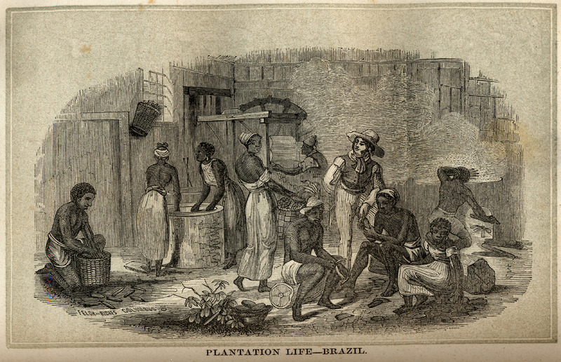 Black men and women engaged in various phases of preparing manioc or cassava. This illustration is not described in Blake, but is undoubtedly derived from Johann Moritz Rugendas, Voyage Pittoresque dans le Bresil (Paris, 1835). See image reference NW0294 on this website.