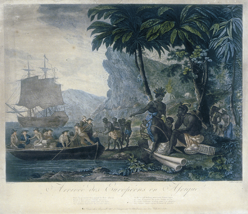 """Arrival of Europeans in Africa"" (caption translation). This engraved print was an idealized view of Africans with trade goods greeting Europeans landing from a long boat and ocean-bound vessels in the background."