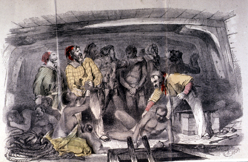 Engraving done in 1855 to illustrate excerpt from account of Captain Canot (1804-1860), who was a French-Italian adventurer and slave trader. Canot mostly traded between the Upper Guinea Coast and Cuba. Henry Howe (1816–1893) was an American author who wrote the histories for several states in the United States.