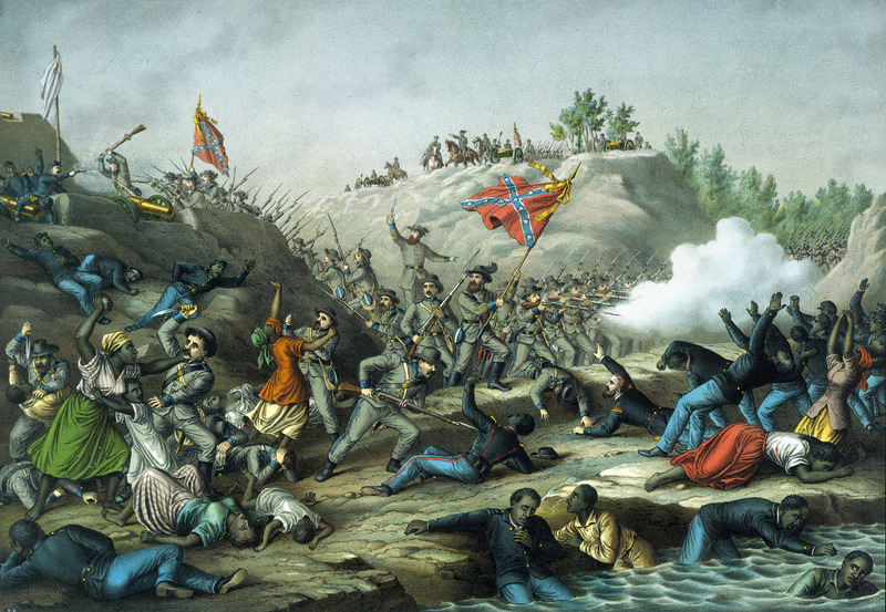This chromolithograph was an artist's rendition showing black Union soldiers and civilians being killed by white Confederate soldiers. On April 12, 1864, Confederate troops attacked Fort Pillow, Tennessee, then occupied by Union troops, many of them black. Kurz and Allison were a major publisher of chromolithographs in the late nineteenth century and they depicted battles of the American Civil War in the 1880s. This was a period of recollection among veterans, and the publishing company of Kurz and Allison capitalized on this sentiment. A veteran of the war and native of Salzburg, Austria, Louis Kurz (1835–1921) designed a set of thirty-six battle scenes. The prints were highly inaccurate and considered fantasies. They did not pretend to mirror the actual events but rather attempted to tap people's patriotic emotions. Several of the Kurz and Alison Civil War prints featured black militiamen, which was unusual at this time.