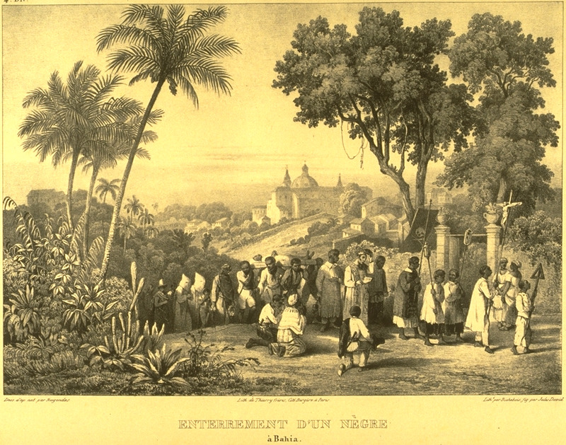 Caption, enterrement d'un Negre a Bahia (funeral of a black in Bahia); burial in a Catholic cemetery outside of a town; the deceased was, perhaps, a free person of color. For an analysis of Rugendas' drawings, as these were informed by his anti-slavery views, see Robert W. Slenes, African Abrahams, Lucretias and Men of Sorrows: Allegory and Allusion in the Brazilian Anti-slavery Lithographs (1827-1835) of Johann Moritz Rugendas (Slavery & Abolition, vol. 23 [2002], pp. 147-168).