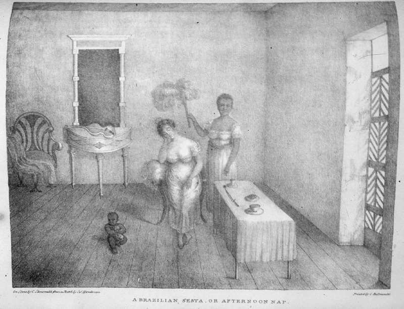 This image shows enslaved female fanning a white woman while she naps, while a black child sitting on the floor. James Henderson (c. 1783-1848) was a British traveler who traveled all through Brazil between 1819 and 1820. He made all of his sketches from his observations.