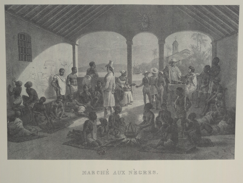 """Slave Market"" (caption translation). This image shows men, women and children being sold. Some are cooking food over an open fire. Johann Moritz Rugendas (1802–1858) was a German painter, famous for his works depicting landscapes and ethnographic subjects in the Americas, in the first half of the nineteenth century. Rugendas arrived in Brazil in 1822, hired as an illustrator for Baron von Langsdorff's scientific expedition. Rugendas remained on his own in Brazil until 1825, exploring and recording his many impressions of daily life in the provinces of Minas Gerais and Rio de Janeiro, and quickly the coastal provinces of Bahia and Pernambuco on his journey back to Europe. He produced mostly drawings and watercolors. He returned to Europe and between 1827 and 1835 he published his book with the help of Victor Aimé Huber. For an analysis of Rugendas' drawings, as these were informed by his anti-slavery views, see Robert W. Slenes, African Abrahams, ""Lucretias and Men of Sorrows: Allegory and Allusion in the Brazilian Anti-slavery Lithographs (1827-1835) of Johann Moritz Rugendas,"" Slavery & Abolition, 23 (2002), p. 147-168. Daniel Mannix, Black Cargoes (New York, 1962; after p. 146), erroneously captions this illustration as ""A slave market in Martinique, early nineteenth century."""