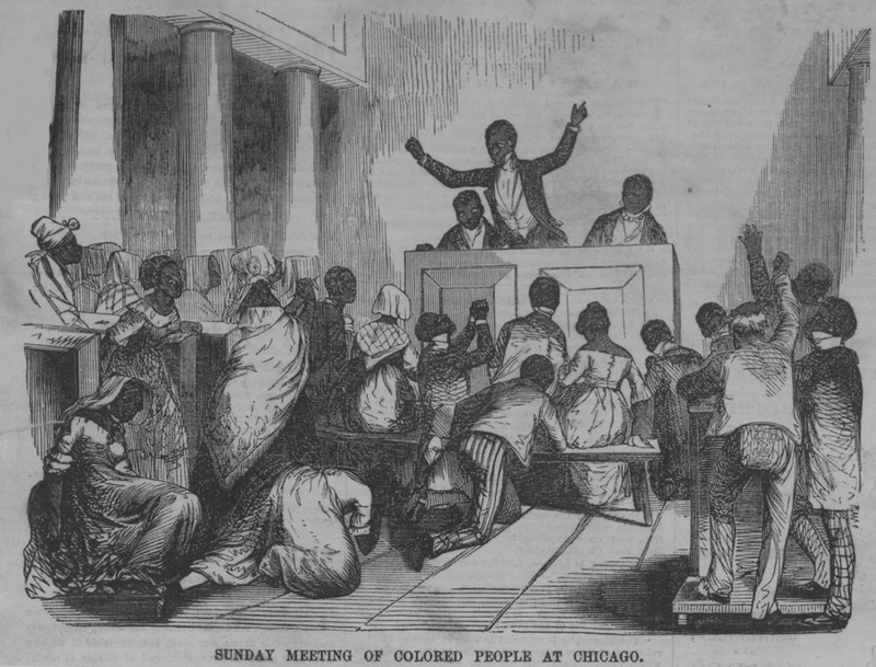 "This engraving depicts African-Americans sitting, kneeling, and standing, several with their arms raised, as they listen to a preacher. According to the accompanying text, ""this scene is sketched from life, and represents the interior of an African church. . . during a prayer meeting."" (p. 208). However, the exact same image captioned ""Meeting in the African Church, Cincinnati, Ohio"" appeared six years earlier in The Illustrated News from New York, which copied the image from a German publication. See image LOC-A on this website. Frederick Gleason (1817-1896) was a writer and publisher. He co-founded an illustrated periodical called Gleason's Pictorial Drawing-Room Companion in Boston, Massachusetts in 1851. The publication name was changed to Ballou's Pictorial Drawing-Room Companion, after the other co-founder, managing editor, writer and publisher, Maturin Murray Ballou (1820–1895), bought out the interest of Gleason in 1855."