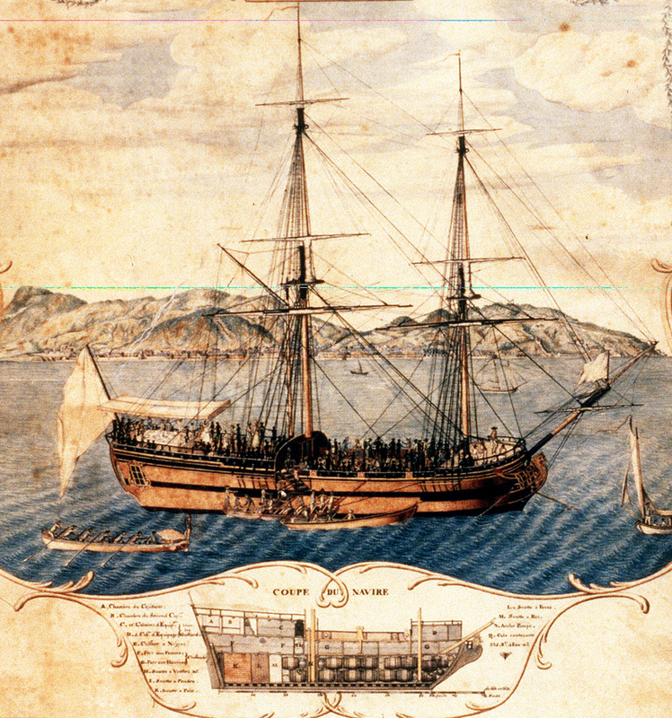 """""""View of Cap Francais and the Marie Seraphique of Nantes"""" (caption translation). One of two known artistic representations of La Marie-Sèraphique, a French ship active in the late eighteenth-century Atlantic slave trade. The full caption states """"Vue du Cap Francais et du n[avi]re la Marie Seraphique de Nantes, Capitaine Gaugy, le jour de l'ouverture de sa vente, troisieme voyage d'Angole, 1772,1773 (View of Cap Francais and the Marie Seraphique of Nantes, Captain Gaugy, the day of the opening of its sale [after] its third voyage from Angola, 1772, 1773). The image shows the purchase of slaves aft on the main deck, an iron barrier separating them from the quarter-deck, and Europeans apparently having a picnic on the stern. There is also a cross section of ship's hull with storage quarters. A black/white view of the other representation of this ship is published in Jean Boudriot, Traite et Navire Negrier(Paris 1984), p. 89, which also describes physical features of the ship."""