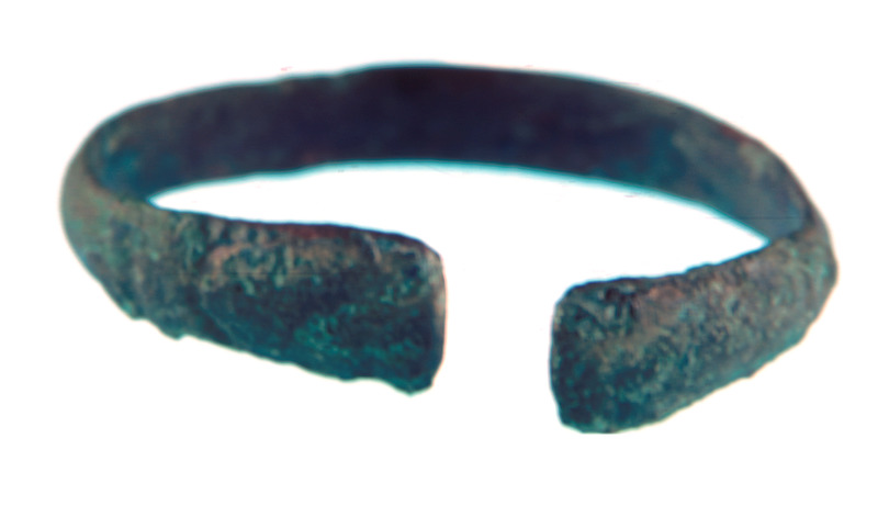 This photograph shows a bracelet which was found on the wrists of a buried skeleton. See image Newton001.