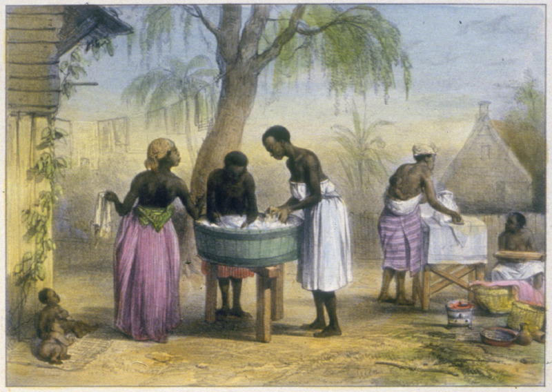 """Negroe Women Occupied by Washing Laundry"" (caption translation). Three women washing clothes at a tub (left), and two others, one carrying her infant on her back, ironing (right). Benoit described how ""the washerwomen are almost always black, and they achieve a degree of perfection that is rarely surpassed elsewhere"" (p. 22). Pierre Jacques Benoit (1782-1854) was a Belgian artist, who visited the Dutch colony of Suriname on his own initiative for several months in 1831. He stayed in Paramaribo, but visited plantations, maroon communities and indigenous villages inland."