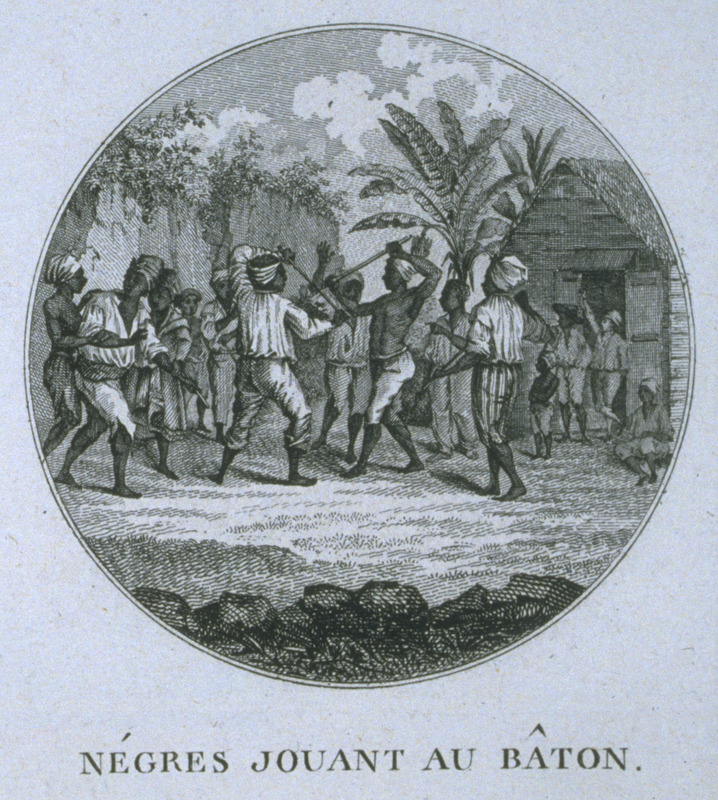 Reversed version of print originally published in London in 1779, based on painting by Agostino Brunias (see stick fighting, Dominica, 1779 in this website). The present engraving by Ponce for Moreau de Saint Mery, Loix et Constitution des Colonies Francais (Paris, 1784, 1790). Caption: Negres jouant au baton; men stick fighting in the middle of a crowd. For biographical details on Brunias, see image NW0016.