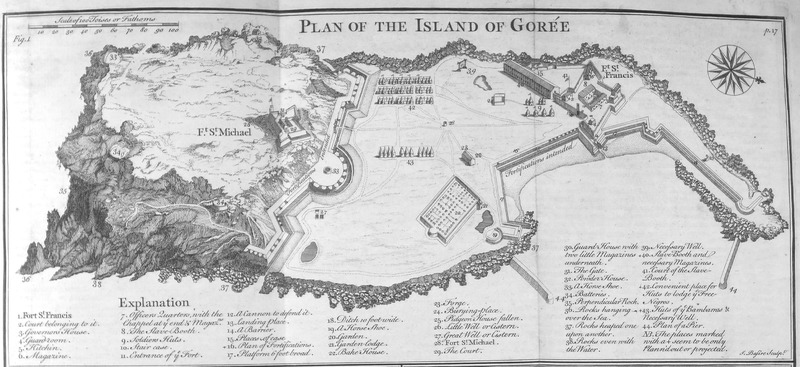 This engraving is a British diagram laying out the defences and organization of the French slave-trading island of Gorée, including sketches of forts labelled St. Michael and St. Francis. Other numbers identify locations of more buildings and points of reference. Thomas Astley (d. 1759) was a British bookseller and publisher who never went to Africa. His imagined localities and illustrations of Africa were informed by a library of travel books at his disposal.