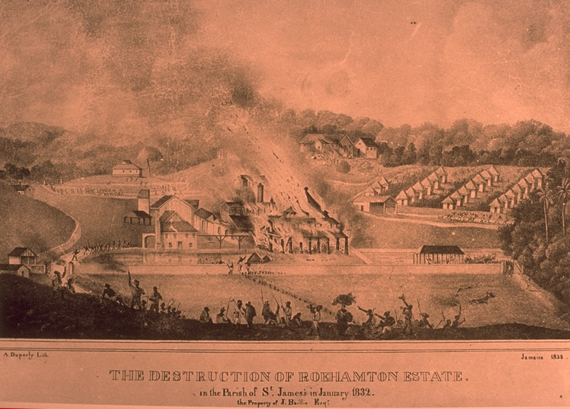 Caption: The Destruction of Roehamton Estate in the Parish of St. James in January 1832. Shows fire in the mill yard and the slave village. This lithograph by Adolphe Duperly is closely based on an aquatint that was done by James Hakewill. The plantation was burned during the slave rebellion of 1832. Discussed in T. Barringer, G. Forrester, and B. Martinez-Ruiz, Art and Emancipation in Jamaica: Isaac Mendes Belisario and his Worlds (New Haven : Yale Center for British Art in association with Yale University Press, 2007), p. 355. Compare with image NW0095.