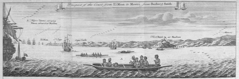 """In the foreground, European slave ships waited for the arrival of several canoes carrying enslaved people from the mainland. Places identified, from left to right: El Mina, Jago, Cape Corse, Fort Royal at Manfrow and Mowri - all in the Voltaic region. Astley provided a description based on various contemporary accounts.  With respect to this illustration, Astley quoted Barbot to describe how """"Moorish merchants do not trade only in gold but also in slaves, whom they bring to the ships in fairly large numbers when there are wars. . . You can see in this drawing a canoe containing slaves who are to board a vessel, and other canoes arriving to trade in gold"""" (p. 518). Thomas Astley (d. 1759) was a British bookseller and publisher. His Voyages and Travels described localities in Africa and Asia, which he compiled from a wide-array of travel books. See also image reference Barbot001 on this website."""