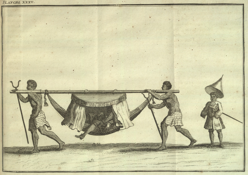 "This image depicts two enslaved people transporting a merchant or planter in a covered hammock in Bahia, Brazil. On the right, another enslaved person carries the European's sword and an umbrella to shield him from the sun when he alights. Frézier described how the ""rich people, even if it is inconvenient, hardly ever walk. They are always industrious in finding ways to distinguish themselves from other men. In America, as in Europe, they are ashamed to use the legs that nature has given us for walking. They are gently carried in beds of woven cotton, suspended at both ends on a large pole that two blacks carry on their heads or on their shoulders. And being hidden there so that the rain or ardor of the sun cannot make them uncomfortable, this bed is covered with a fringe of gold hanging from curtains that one can close when one wants. There, comfortably laying down, the head supported by a bolster of luxurious fabric, they are carried comfortably. . . These cotton hammocks are called Serpentin and are not Palanquins, as some travelers call them (p. 526). The Brazilian scholar, Gilberto Freyre, explained how ""within their hammocks and palanquins the gentry permitted themselves to be carried about by Negroes for whole days at a time, some of them travelling in this manner from one plantation to another. . . Nearly all [the slaveholders] travelled by hammock"" (Gilberto Freyre, The Masters and the Slaves (New York, 1956), p. 409-410, 428). The same illustration appears in the Paris edition of Frézier, but as a fold out spreading over two pages (1716). Amédée-François Frézier (1682–1773) was a French military engineer, mathematician, spy, and explorer. He was dispatched to South Americas to correct existing navigational charts and make exact plans of the most important ports and fortresses along the coast."