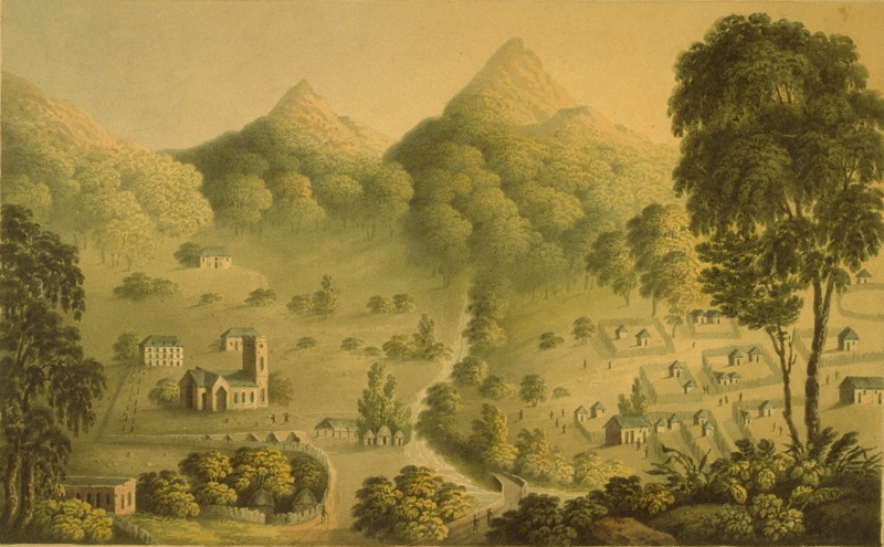 Watercolor of landscape, showing various structures, including towered church (left) and slave houses with garden plots (right). (slide of painting, courtesy of Ralph Stetson)