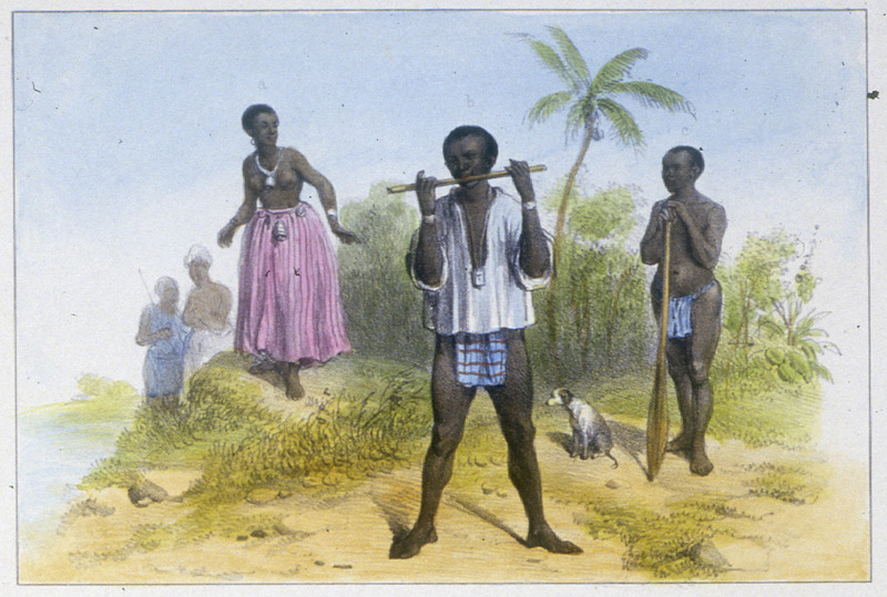 """""""A Bush-Negro Woman; Spy; Bush-Negro"""" (caption translation). This engraving shows several people standing in front of a sugar plantation. Benoit wrote that """"from time to time the Bush Negroes raid plantations and kidnap enslaved women. It is very difficult for planters to recapture these kidnapped women because the Bush Negroes hide them in the deepest forest areas. However, he continues, a number of these women have family or other emotional attachments on the plantations from which they were taken, and sometimes escape and return to their plantations. And to make escape more difficult, the maroons attach to the necks of these women different types of bells (les grelots et la sonnette) so that they can be aware of any movement made by the women."""" In this illustration, the author depicted a woman who he saw """"with bells around her neck and her body which the maroons hoped would discourage her from trying to escape again"""" (p. 61). In referring to the Spy (espion), Benoit wrote that """"the Bush Negroes are very distrustful and suspicious of Europeans, and to know what is going on throughout the colony, they have established a manner of communication no less prompt/quick than the telegraph. When an event takes place in the city that is of interest to them, whether it be preparation for war, the death of an important personnage or the arrival of a vessel, one of these Bush Negroes whose job is that of a spy and who maintains contact with Negroes in the city who let him know what is going on and as soon as he hears the news he goes into the country and using a small lead instrument, resembling a flute but only having one hole in the middle, he blows into it with force. The sound which is spread more than a league in distance is repeated by other Bush Negroes and at the end of a few minutes the Bush Negro villages learn that something new has happened"""" (p. 62). Pierre Jacques Benoit (1782-1854) was a Belgian artist, who visited the Dutch colony of Suriname on his own initiat"""