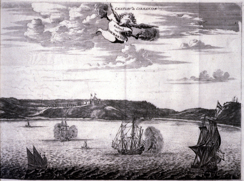 """Cormantin Castle"" (caption translation). From the Voltaic region, this view from the sea shows Cormantin castle in the distant background. In the foreground, there are several European ships. For an informed discussion of Dapper as an historical source, see Adam Jones, Decompiling Dapper: A Preliminary Search for Evidence (History in Africa, vol. 17 [1990], pp. 171-290)."