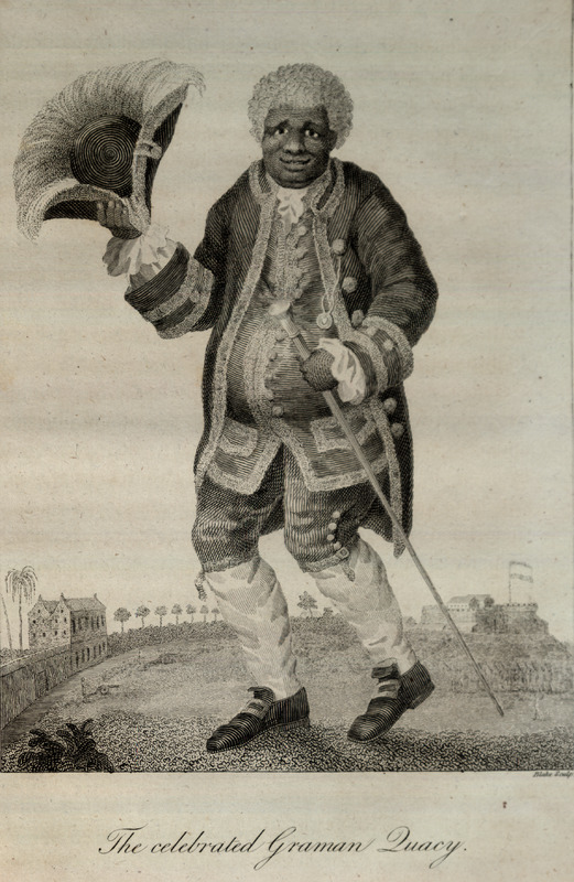 The Celebrated Graman Quacy in full regalia. Graman (meaning great man) Quacy was widely respected by slaves because of his magical powers and ability to cure illness and provide protective amulets (see Stedman, pp. 346-347). This and other engravings are found in the autobiographical narrative of Stedman, a young Dutchman who joined a military force against rebellions of the enslaved in the Dutch colony. The engravings are based on Stedman's own drawings and were done by professional engravers. For the definitive modern edition of the original 1790 Stedman manuscript, which includes this and other illustrations, see Richard and Sally Price, eds. Narrative of a five years expedition against the revolted Negroes of Surinam (Baltimore: Johns Hopkins University Press, 1988).