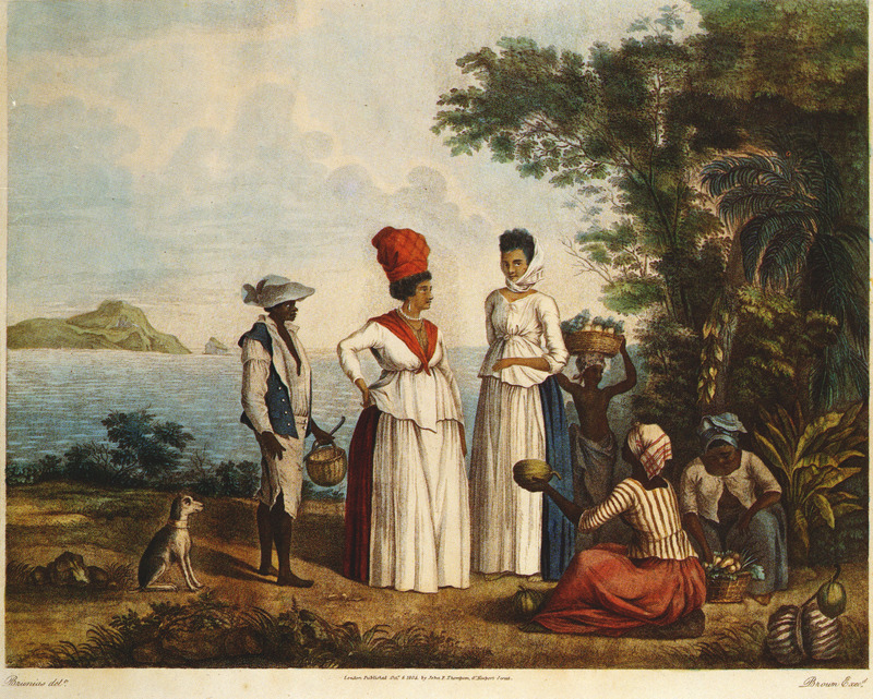 Titled, The Fruit Market at St. Vincent, shows free colored woman and slaves, perhaps meant to depict the Sunday Market, a major institution in the British West Indies during the period of slavery. Agostino Brunias (sometimes incorrectly spelled Brunyas, Brunais), a painter born in Italy in 1730, came to England in 1758 where he became acquainted with William Young. Young had been appointed to a high governmental post in West Indian territories acquired by Britain from France, and in late 1764 Brunias accompanied Young to the Caribbean as his personal artist. Arriving in early 1765, Brunias stayed in the islands until around 1775, when he returned to England (exhibiting some of his paintings in the late 1770s) and visited the continent. He returned to the West Indies in 1784 and remained there until his death on the island of Dominica in 1796. Although Brunias primarily resided in Dominica he also spent time in St. Vincent, and visited other islands, including Barbados, Grenada, St. Kitts, and Tobago. See Lennox Honychurch, Chatoyer's Artist: Agostino Brunias and the Depiction of St Vincent, for what is presently the most informative and balanced discussion of Brunias and his romanticized and idyllic paintings of West Indian scenes and slave life (Jl of the Barbados Museum and Historical Society, vol. 50 [2004], pp.104-128); see also Hans Huth, Agostino Brunias, Romano (The Connoisseur, vol. 51 [Dec. 1962], pp. 265-269).