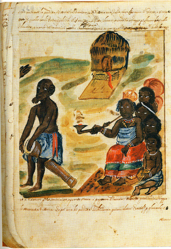 "The Kingdom of Matamba is located in the Kwanza North region. The accompanying text describes how Queen Nzinga is seated among her maidservants and watches a drummer. A small structure, perhaps a shrine is in the background has a mat in front of it on which is a ceremonial seat. The Queen is smoking an African elbow pipe."" Antonio Cavazzi (b. 1621) was an Italian priest who from 1654 to 1667 joined the Capuchin mission in what is today northern Angola. After a visit to Europe, he returned to the Kingdom of Kongo, where he remained from 1672 to 1677. He died in Genoa in 1678. Cavazzi made this painting and other watercolors, the originals of which are in his manuscript, held in a private collection in Modena, Italy (see also Cavazzi for other images on this website). Bassani reproduces the full set of 33 watercolors, only eight of which are hosted on this site. A microfilm copy of the manuscript is held by the Special Collections Department, University of Virginia Library. Cavazzi's drawings must be among the earliest known eyewitness sketches of African life by a European. They can be contrasted to, for example, the fanciful depictions found in Dapper or by the De Bry brothers (see Dapper and De Bry on this website). Thanks to Joseph Miller for his assistance in interpreting this image."