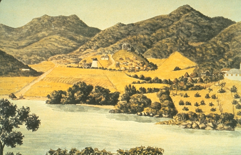 Watercolor by F. V. Schulten shows Carolina Estate in Coral Bay, with its windmill and other buildings, including slave houses (center). White building cut off at the right is the Moravian mission station in Coral Bay; adjacent to it are the slave houses.