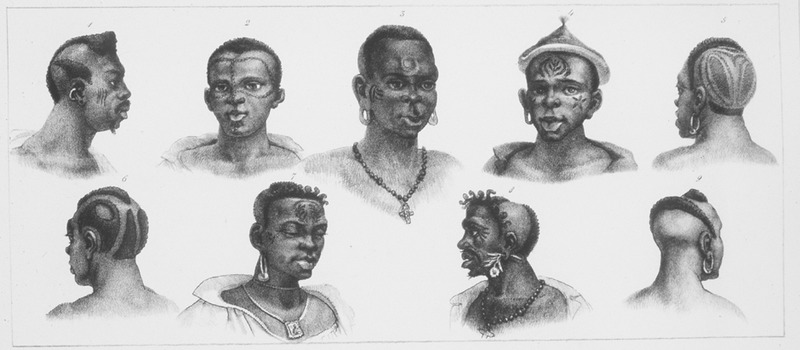 Caption, Differentes Nations Negres; shows heads, faces, and hair styles of nine men. The engravings in this book were taken from drawings made by Debret during his residence in Brazil from 1816 to 1831. For watercolors by Debret of scenes in Brazil, some of which were incorporated into his Voyage Pittoresque, see Jean Baptiste Debret, Viagem Pitoresca e Historica ao Brasil (Editora Itatiaia Limitada, Editora da Universidade de Sao Paulo, 1989; a reprint of the 1954 Paris edition, edited by R. De Castro Maya).