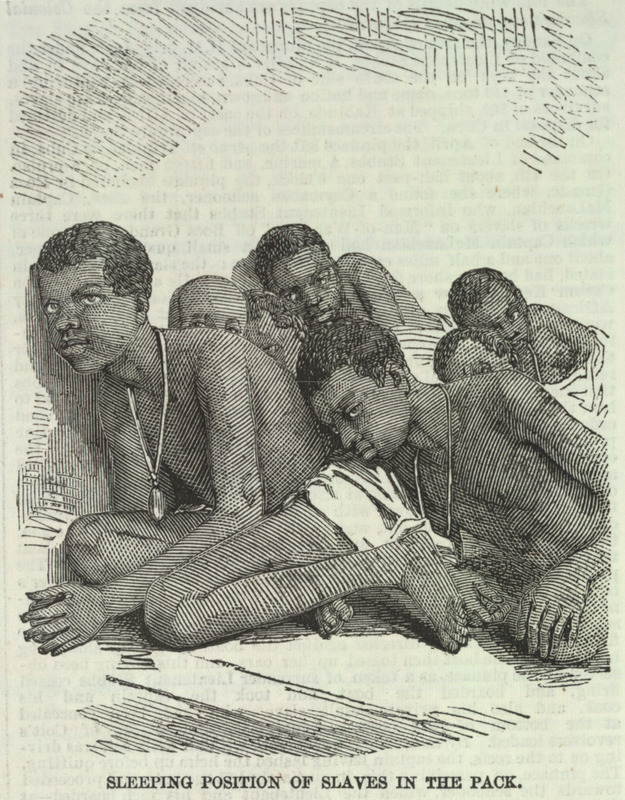Caption, Sleeping position of slaves in the pack, shows two of the liberated Africans with tin or wood identification or registration tags placed on them by the colonial authorities. This is one of a group of five illustrations that accompany a letter to the editor describing the capture by the British Navy of a slave ship, the Zeldina, blown off course near the coast of Cuba. Dated Kingston, Jamaica, May 11, 1857, the letter includes excerpts from two Jamaican newspapers; these provide details on the capture and the condition of the Africans on board. The engravings shown here were made from photographs sent by the writer to the Illustrated London News. In brief, these accounts relate how in April a British naval vessel captured the slave ship and brought it to Port Royal. On board were the 370 survivors of the approximately 500 Africans who had been boarded in Cabinda (Angola) approximately 46 days earlier. A contemporary newspaper describes their condition as follows: The poor captives were in a wretched condition--all of them naked; and the greater part seemed to have been half starved. They were packed closely together, and covered with dirt and vermin . . . The slave-schooner had two decks and between them the captives were packed in such a manner that they had scarcely room to move. During each day of the voyage they sat in a painful posture, 18 inches only being allowed for each to turn in . . . in a deck room of 30 feet in length . . . [they were] brought up in platoons once every day to get a small portion of fresh air.  (ILN, pp. 595-596). See also image reference iln595b.