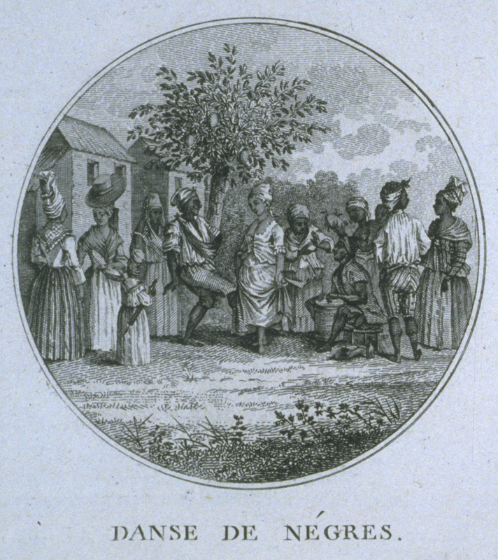 Engraving by Ponce for Moreau de Saint Mery, Loix et Constitution des Colonies Francais (Paris, 1784, 1790). Caption, danse de Negres; shows costumed men and women dancing, drummer and other instrumentalists. Compare this with image NW0156 this website.) For biographical details on Brunias, see image NW0016.