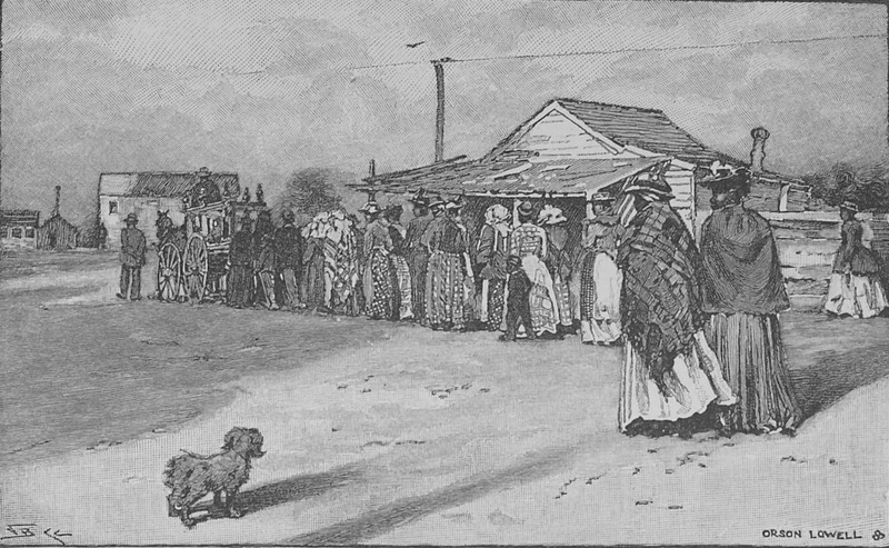 A funeral procession, men and women lined up in pairs following the horse/mule-drawn hearse. Although several decades after emanciption, this scene may have bearing on the late ante-bellum period.