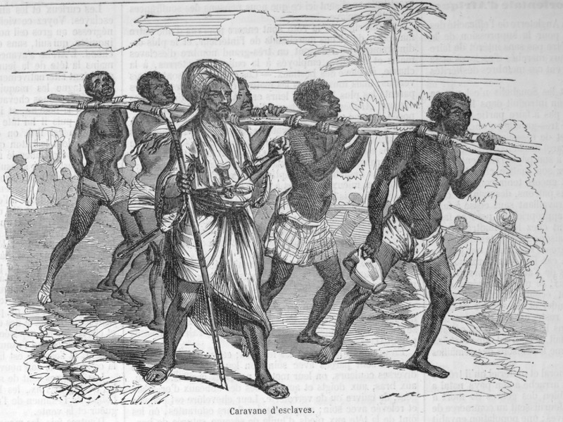 Captioned Caravane d'éclaves, illustration shows five enslaved men linked by poles in the so-called Goree, or Slave-Stick Goree; Arab slave trader in foreground. This illustration accompanies a lengthy eyewitness account by Loarer (no first name given) on slavery on the east coast of Africa (pp. 135-138).