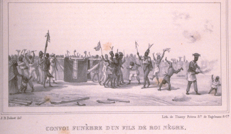 Caption, Convoi Funebre d'un fils de Roi Negre (funeral procession of the son of Black King); corpse carried in a litter to burial ground. The engravings in this book were taken from drawings made by Debret during his residence in Brazil from 1816 to 1831. For watercolors by Debret of scenes in Brazil, some of which were incorporated into his Voyage Pittoresque, see Jean Baptiste Debret, Viagem Pitoresca e Historica ao Brasil (Editora Itatiaia Limitada, Editora da Universidade de Sao Paulo, 1989; a reprint of the 1954 Paris edition, edited by R. De Castro Maya).