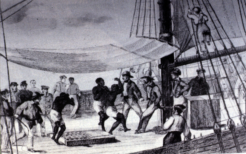 This illustration shows enslaved Africans being forced to dance on the deck of slave ship for exercise during the Middle Passage. The text surrounding this image of an unidentified ship refers to St. Louis in the Senegambia region. Also published in Anthony Tibbles (ed.), Transatlantic Slavery: Against Human Dignity (London: HMSO, 1994; fig. 5) where the author's name is erroneously transposed as Grehan Amedee.