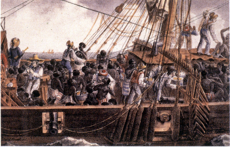 """Transport of negroes to the colonies"" (caption translation). This image shows close-up of top deck of slaver with Africans and European sailors. A barrier on the deck separates African men and women. This unidentified ship left from an unidentified place in West Africa."