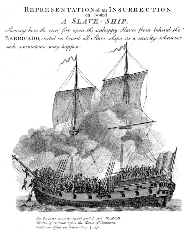 Title and caption, Representation of an Insurrection on board a Slave-Ship. Shewing how the crew fire upon the unhappy slaves from behind the Barricado, erected on board all slave ships, as a security whenever such commotions may happen. Enlarged section from Plan and Sections of a Slave Ship, a fold out drawing included in the Wadstrom volume. Wadstrom notes It was taken from a sketch which, with the explanation attached, was communicated to him [Wadstrom] at Goree in 1787.