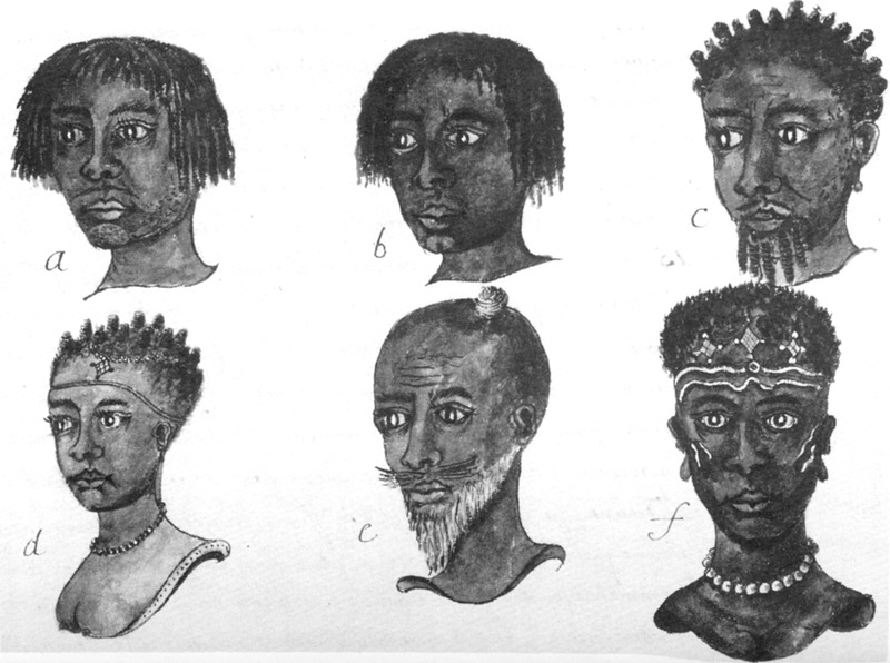 This engraving shows six portraits including hairstyles, facial decorations and jewelry. Jean Barbot (1655-1712) was a French explorer and merchant. Employed by the Compagnie du Senegal, Barbot documented two voyages along the coast of West Africa, then across the Atlantic to the Caribbean in 1678-1679 and 1681-1682.