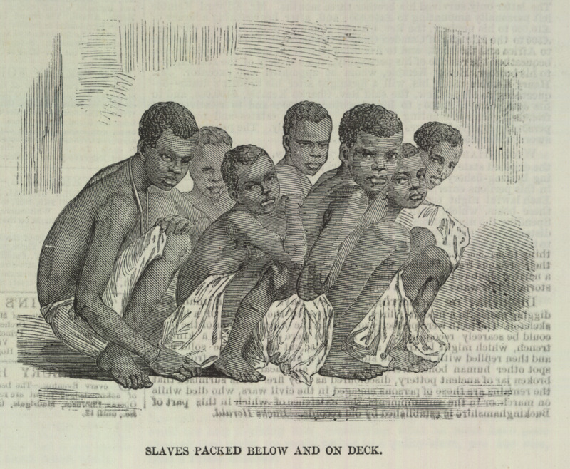 Caption, Slaves packed below and on deck, shows how Africans were crammed into a slave ship that was captured.  This is one of a group of five illustrations that accompany a letter to the editor describing the capture by the British Navy of a slave ship, the Zeldina, blown off course near the coast of Cuba. Dated Kingston, Jamaica, May 11, 1857, the letter includes excerpts from two Jamaican newspapers; these provide details on the capture and the condition of the Africans on board. The engravings shown here were made from photographs sent by the writer to the Illustrated London News. In brief, these accounts relate how in April a British naval vessel captured the slave ship and brought it to Port Royal. On board were the 370 survivors of the approximately 500 Africans who had been boarded in Cabinda (Angola) approximately 46 days earlier. A contemporary newspaper describes their condition as follows: The poor captives were in a wretched condition--all of them naked; and the greater part seemed to have been half starved. They were packed closely together, and covered with dirt and vermin . . . . The slave-schooner had two decks and between them the captives were packed in such a manner that they had scarcely room to move. During each day of the voyage they sat in a painful posture, 18 inches only being allowed for each to turn in . . . in a deck room of 30 feet in length . . . [they were] brought up in platoons once every day to get a small portion of fresh air . .  (ILN, pp. 595-596). Thanks to David Eltis for providing the name of the slave ship.