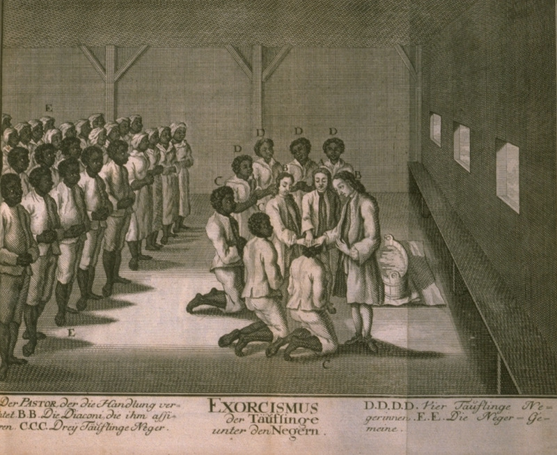 Moravian (United Brethren) congregation of blacks with white ministers, shows congregation witnessing the ceremony in which newly baptized slaves prostrated themselves and were then embraced by their previously converted fellows. Caption (translated): Excorcism-Baptism of the Negroes. A) the pastor leading the ceremony; B) the deacons who assist him; C) three [male] baptismal candidates; D) four female baptismal candidates; E) the Negro congregation. The geographical area is not identified in the illustration, but it was St. Thomas (see Jon Sensbach, Rebeccaís Revival [Harvard Univ. Press, 2005], p. 97).