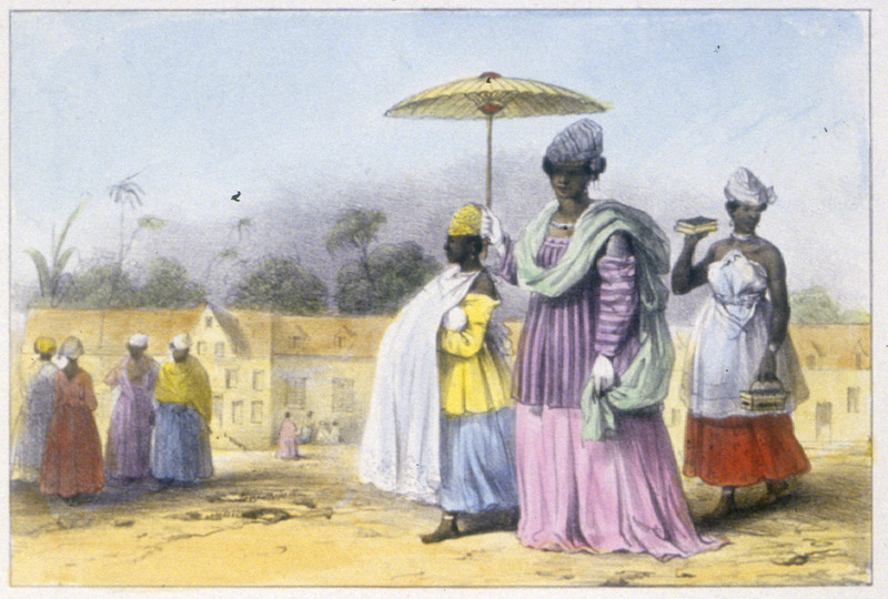 """A Missie, Taking her Child to the Baptism, Followed and Preceded by Two Young Slaves"" (caption translation). This engraving shows a well-dressed woman carrying an umbrella in the company of two enslaved girls. A ""missie"" is a common-law wife or mistress of a white man, usually a free woman of color. Benoit described how the ""missie,"" which is a mistress of a white man and usually a free woman of color, ""is taking her child to be baptized, accompanied by two slaves - one carries the infant, the other a bible."" Pierre Jacques Benoit (1782-1854) was a Belgian artist, who visited the Dutch colony of Suriname on his own initiative for several months in 1831. He stayed in Paramaribo, but visited plantations, maroon communities and indigenous villages inland."