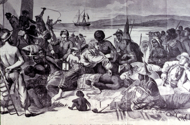 In a crowd of people, a European examines a slave, while another is being whipped. A slave ship at sea is in background. The Kambia River is in the Forests of West Africa region. This woodcut is a copy of a 64 x 90 inch oil painting (titled, Traite d'Esclaves dans l'Ouest de l'Afrique), done in 1840 by Francois-Auguste Biard (1798-1882), a French painter. The painting, today located in the Wilberforce House Museum, Hull (England), was first exhibited at the Salon (Paris) of 1835. There is no evidence that Biard ever witnessed this scene. Color images of the painting are published in Marcus Wood, Blind Memory (Manchester Univ. Press, 2000), plate 5, and Hugh Honour, The Image of the Black in Western Art (Menil Foundation, Harvard University Press, 1989), vol. 4, pt. 1, fig. 89. The black/white image is also reprinted in James Walvin, Slavery and the Slave Trade (Univ. Press of Mississippi, 1983, fig. 17) but with a misleading caption and a misspelling of the artist's name.