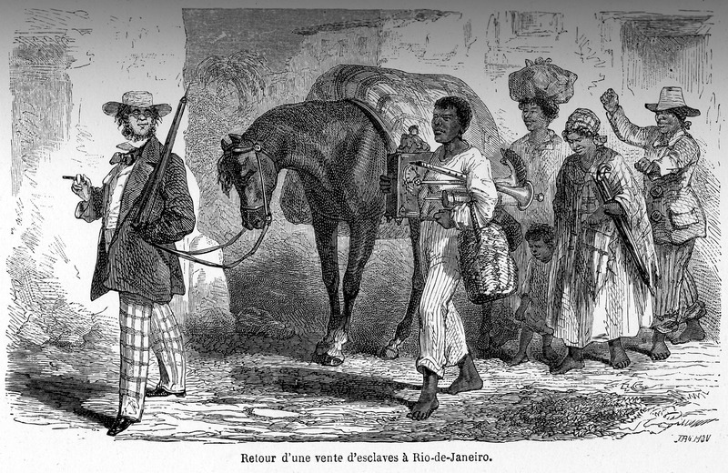 """Trip Back from a Sale of Slaves, in Rio de Janeiro"" (caption translation). This engraving shows a slave owner smoking a cigar and carrying an umbrella while leading a horse and a group of four enslaved adults and a child. One of the men carries household goods, including a clock and a musical instrument while the two women, one holding onto a child, are behind him. Bringing up the rear is a man who appears to be guarding the newly-bought slaves. The material goods shown suggest that the auction was not only for the purchase of slaves but household items as well. François-Auguste Biard (1799-1882), or François Thérèse Biard, was a French painter and traveler. Around 1858, he spent two years in Brazil working at the court of Emperor Pedro II. From Rio de Janeiro, he made several excursions into the interior, where he painted some of the earliest images of indigenous people in the Amazon. On his return to France, he went through North America and painted scenes depicting slavery. He published around 180 engravings and was sometimes criticized for inserting humour in otherwise serious paintings. See Ana Lucia Araujo, Brazil through French Eyes: A Nineteenth-Century Artist in the Tropics (Albuquerque: University of New Mexico Press, 2015)."