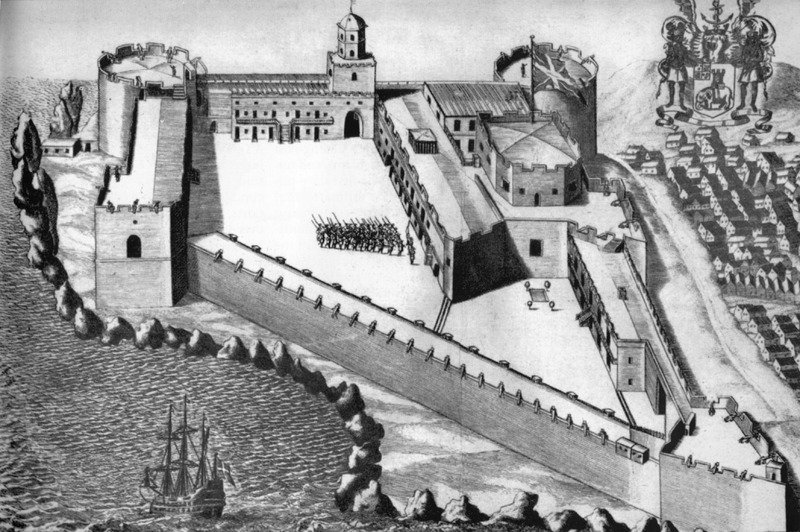 This image of Cape Coast castle in the Voltaic region shows central courtyard and surrounding walls/ramparts, guns pointing to sea, and European soldiers drilling in courtyard; African town to right. This image is taken from some secondary source and ultimately derives from a 1682 drawing by Henry Greenhill (1646-1708). Greenhill was appointed Governor of the Gold Coast by the Royal African Company. For more details see A. W. Lawrence, Trade Castles and Forts of West Africa (Stanford Univ. Press, 1964), plate 37 and passim. See also image D008.