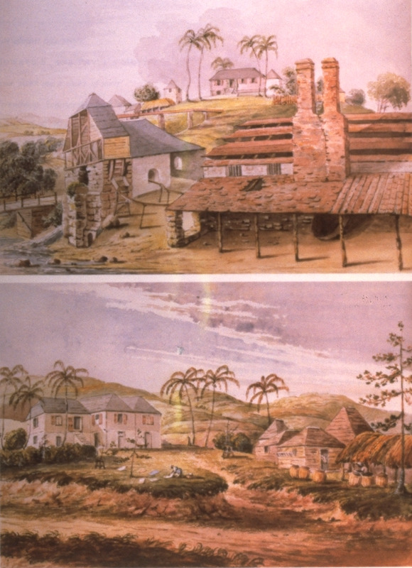 Top, View of the Dwelling, Water Mill, Boiling House, etc.; Bottom, View of the Dwelling House and Offices.