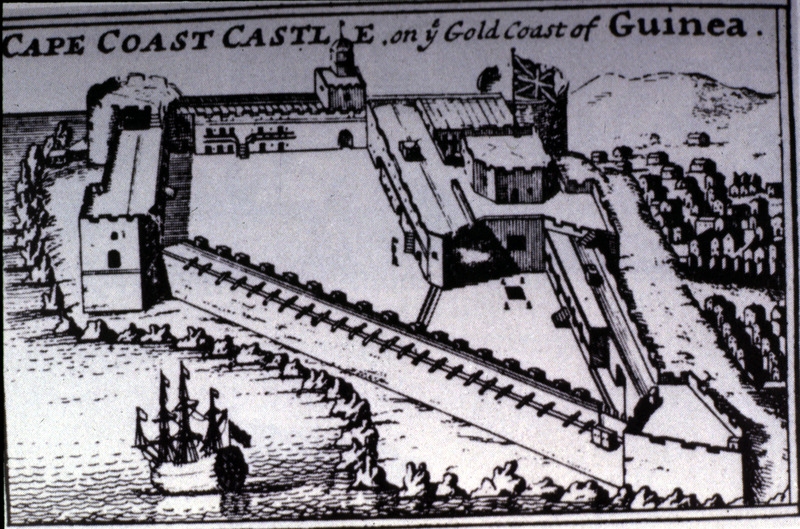 """This image seems to be one of several variations of a 1682 engraving of Cape Coast Castle in the Voltaic region originally drawn by Henry Greenhill (1646-1708). Greenhill was appointed Governor of the Gold Coast by the Royal African Company. In the 1690s, an account of the Royal African Company's forts in West Africa, reported that """"among the facilities at Cape Coast Castle were repositories to contain one thousand Negroes, and vaults for rum, work-houses for smiths, armourers, and carpenters; seventy four great guns. . . pinnaces and cannoes attending the castle and garrison. . . gardens and grounds producing all necessaries for the factories and shipping. . . also ponds of fresh water"""" (see A Particular of the Royal African Company's Forts and Castles in Africa (London, ca. 1698)). A copy of this image is held in the British Library. See other reproductions in P.E.H. Hair, Adam Jones, and Robin Law, Barbot on Guinea [1678-1712] (London, 1992), vol. 2, after p. 392 and associated text. See also image D007."""