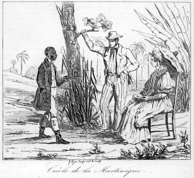 Creole de la Martinique, depicts black servant bringing refreshments to a creole man and woman--native born whites, described at length, as is the island's slave population, on pp. 292-93