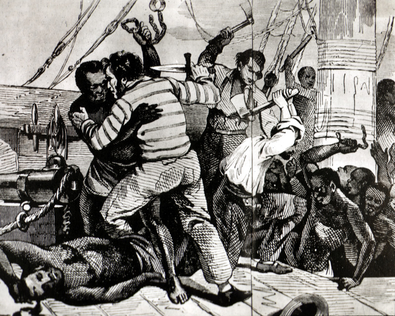 This imagined depiction of a slave revolt shows Africans and Europeans fighting with weapons on the top deck of an unidentified slave ship leaving an unknown region in West Africa. There is some discrepancy surrounding the origins of this image. The same image also appeared in Albert Laporte, Recits du Vieux Marins (Paris, 1883), p. 267. The two variations suggest that LaPorte is not the original source for the image, although it is the earliest known and slightly cropped published version, which Aguet did not cite. For more details, please refer to image LCP-13.