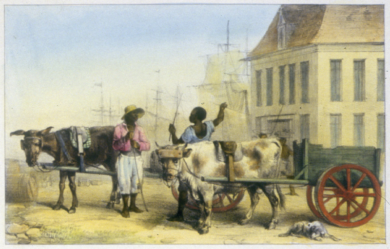 """Loads of the City"" (caption translation). This engraving shows a Bush Negro (bosch-negre), or Maroon, and a port drayman, both with their carts. Pierre Jacques Benoit (1782-1854) was a Belgian artist, who visited the Dutch colony of Suriname on his own initiative for several months in 1831. He stayed in Paramaribo, but visited plantations, maroon communities and indigenous villages inland."