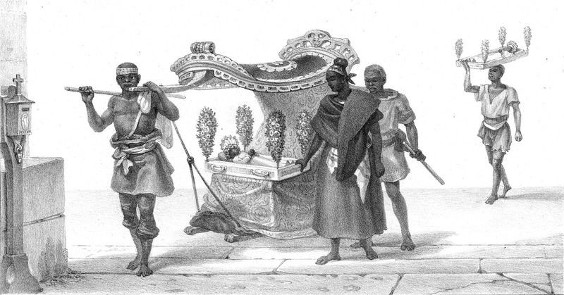 Captioned, Convoi Funebre de Negrillons (funeral procession of black children), portrays (foreground), a deceased child laid out on a wooden (?) tray with flowers which is resting on an ornate canopied carriage (without wheels ?) that is pulled through the street; the grieving parents hold onto the carriage. In the background, another child is carried in a similar tray which is transported on a man's head. The engravings in this book were taken from drawings made by Debret during his residence in Brazil from 1816 to 1831. For watercolors by Debret of scenes in Brazil, some of which were incorporated into his Voyage Pittoresque, see Jean Baptiste Debret, Viagem Pitoresca e Historica ao Brasil (Editora Itatiaia Limitada, Editora da Universidade de Sao Paulo, 1989; a reprint of the 1954 Paris edition, edited by R. De Castro Maya).