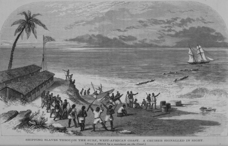 The illustration shows slaving operations in the Bight of Benin, with its treacherous surf (see p. 252). An unidentified slave merchant made this sketch. The Church Missionary Intelligencer was published by the Church of England's Church Missionary Society. This illustration accompanies a long article on the continuing slave trade in Africa, particularly West Africa's role in providing slaves to Cuba. It was later also published in The Quiver: An Illustrated Magazine of Social, Intellectual, and Religious Progress (London, 1865), vol. 2, p. 44, with the caption Shipping Slaves on the Coast of Africa. See also Robert Smith, The Lagos Consulate, 1857-1861 (London, 1978), between pp. 36-37.
