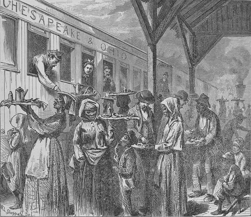 Railway station at Gordonsville, not far from Charlottesville. Black hawkers selling goods and other refreshments to white passengers; the Negroes . . . swarm day and night like bees about the trains (p. 649). Original sketch made by J. Wells Chamney who accompanied the author during 1873 and the spring and summer of 1874. Although relating to the post-emancipation period, the scene possibly evokes the later ante-bellum years.