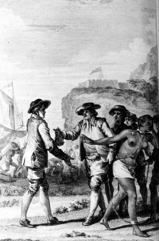 """An Englishman from Barbados Sells his Mistress"" (caption translation). Image is based on one version or another of the story of Yarico, an Amerindian woman, and her lover, Inkle, an English sailor who allegedly duped her and sold her into slavery in Barbados. Guillaume Thomas Raynal (1713–1796) was a French writer during the Age of Enlightenment. He briefly discussed this story in his text, without naming the principals.  For details, see Jerome S. Handler, A Guide to Source Materials for the Study of Barbados History, 1627-1834 (Southern Illinois Univ. Press, 1971), p.21. Compare this image with the lower right hand corner of image reference NMM-2."