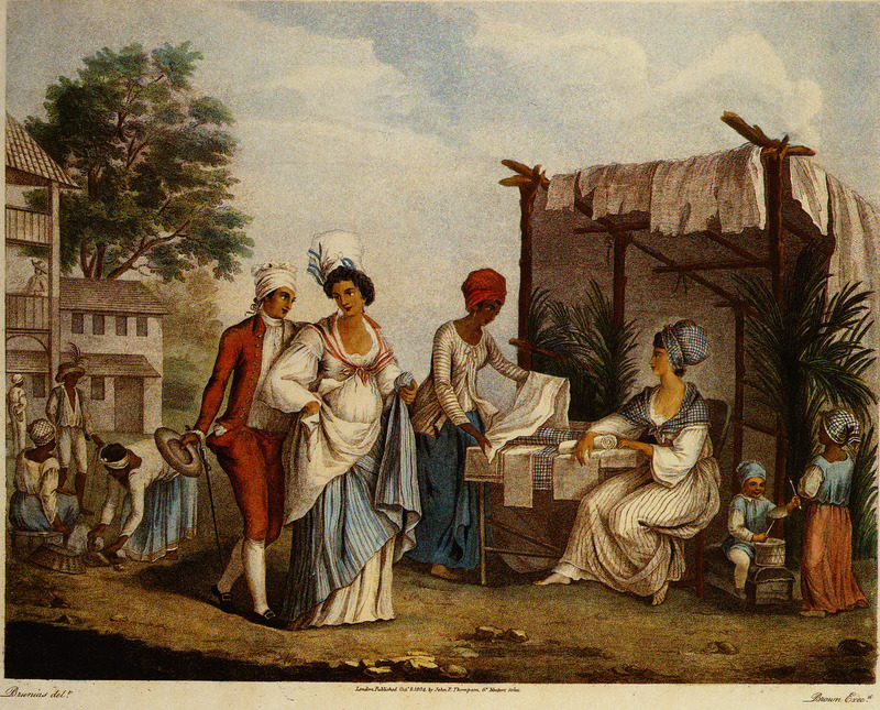 Titled The Linen Market at St. Domingo, shows free colored women and men; slaves in background. Some of the background features and human subjects in this scene are also found in the Brunias oil painting, Linen Market, Dominica, held by the Yale Center for British Art (see image reference Brunias-Yale). Agostino Brunias (sometimes incorrectly spelled Brunyas, Brunais), a painter born in Italy in 1730, came to England in 1758 where he became acquainted with William Young. Young had been appointed to a high governmental post in West Indian territories acquired by Britain from France, and in late 1764 Brunias accompanied Young to the Caribbean as his personal artist. Arriving in early 1765, Brunias stayed in the islands until around 1775, when he returned to England (exhibiting some of his paintings in the late 1770s) and visited the continent. He returned to the West Indies in 1784 and remained there until his death on the island of Dominica in 1796. Although Brunias primarily resided in Dominica he also spent time in St. Vincent, and visited other islands, including Barbados, Grenada, St. Kitts, and Tobago. See Lennox Honychurch, Chatoyer's Artist: Agostino Brunias and the Depiction of St Vincent, for what is presently the most informative and balanced discussion of Brunias and his romanticized and idyllic paintings of West Indian scenes and slave life (Jl of the Barbados Museum and Historical Society, vol. 50 [2004], pp.104-128); see also Hans Huth, Agostino Brunias, Romano (The Connoisseur, vol. 51 [Dec. 1962], pp. 265-269).
